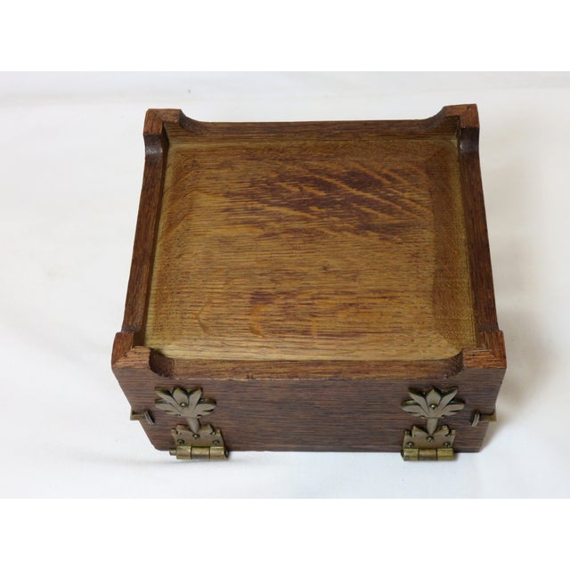 Early 20th Century Antique Arts & Crafts Oak and Bronze Box For Sale - Image 10 of 13