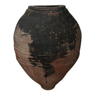 Vintage Rustic Clay Urn For Sale