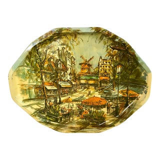 Vintage French Scene Metal Tray For Sale