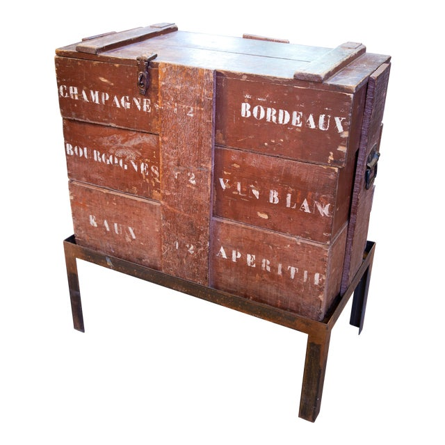 Champagne/ Wine Crate Table with Hand Forged Iron Base, circa 1905 For Sale