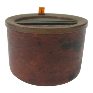 1940s Vintage Brass & Leather Art Deco Ashtray With Retractable Lid For Sale