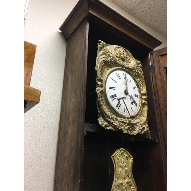 Antique French Hand Painted Brass Repoussé Grandfather Clock For Sale - Image 9 of 13