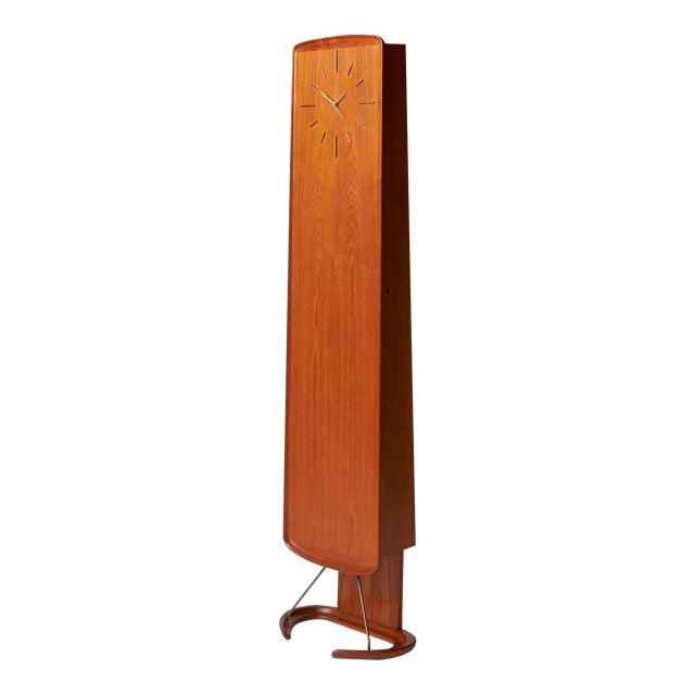An Arne Hovmand-Olsen teak Clock with interior cabinet For Sale