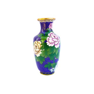 Large Antique Japanese Cloisonné Vase || Cherry Blossoms Butterflies Chrysanthemum Flowers Brass Enamel Vase