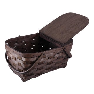 Antique Picnic Basket For Sale