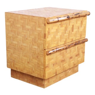 Mid-Century Modern Hollywood Regency Chinoiserie Bamboo Parquetry Nightstand For Sale