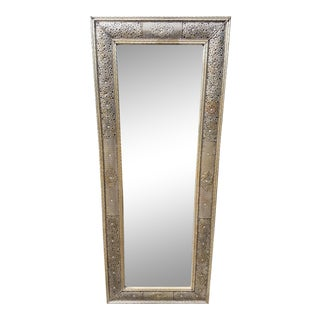 Moroccan Tall Metal Inlaid Rectangular Mirror For Sale