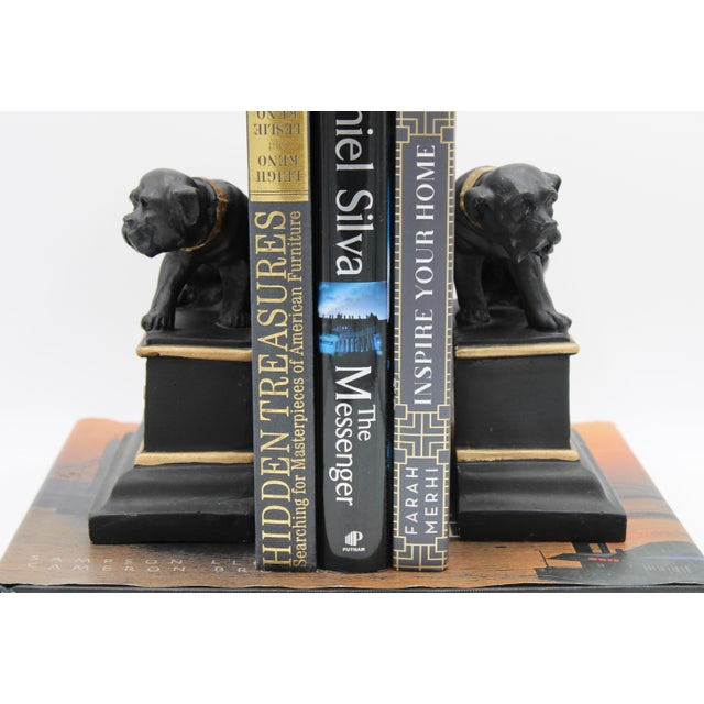 Mid 20th Century Black and Gold Ceramic Dog Bookends For Sale - Image 11 of 13