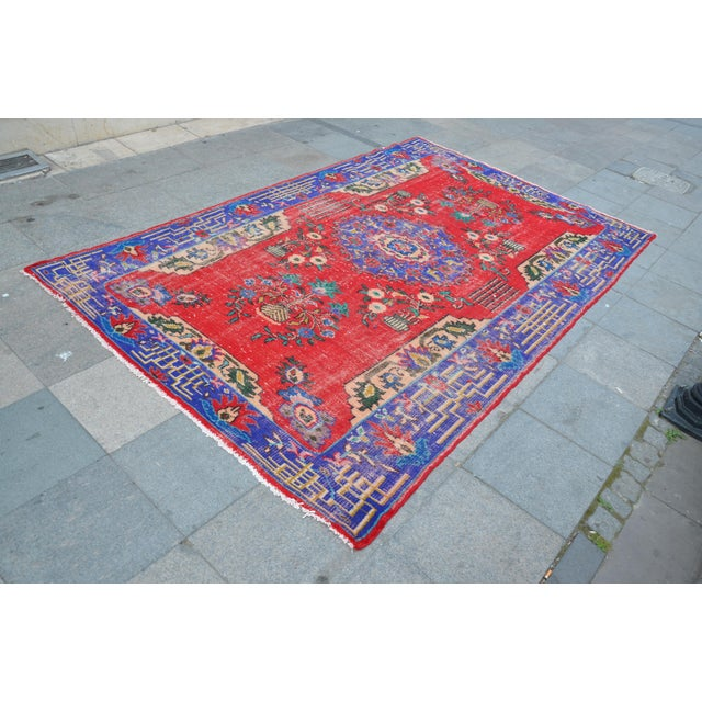Turkish Oushak Floor Rug - 6′2″ × 9′11″ - Image 3 of 6