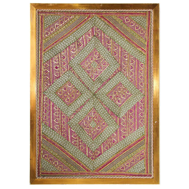 Mughal Style Metal Threaded Tapestry Framed from Rajasthan, India For Sale - Image 13 of 13