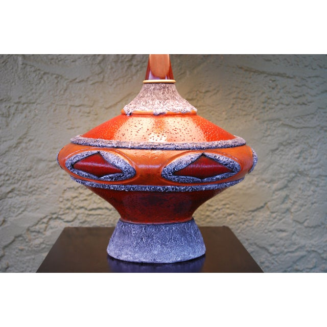 Orange '60's Fat Lava-Inspired Chalkware Table Lamp & Custom Shade For Sale - Image 8 of 9