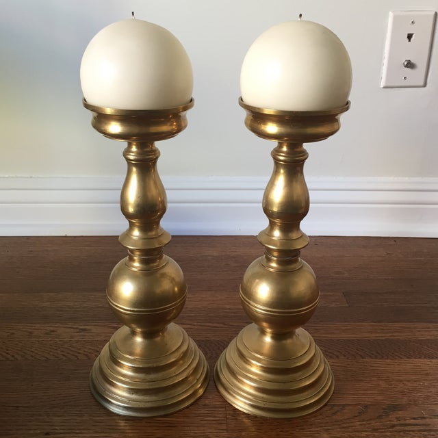 Brass Candlesticks with White Candles - A Pair - Image 2 of 6