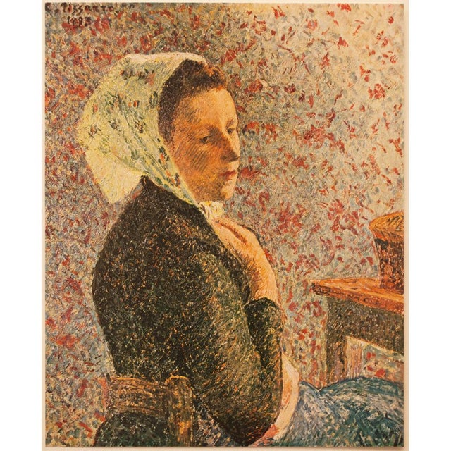 "Rare original tipped-in offset lithograph after painting ""Femme Au Fichu Vert"" (Woman With Green Scarf, 1893) by French..."