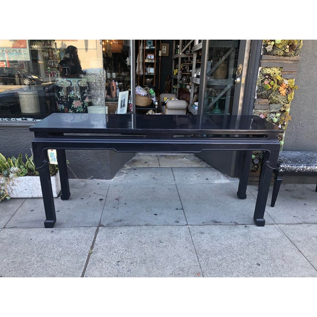 Vintage Chinoiserie Black Lacquer Console Table For Sale - Image 9 of 9