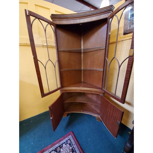 Brown Vintage Mahogany Corner Cabinet For Sale - Image 8 of 13
