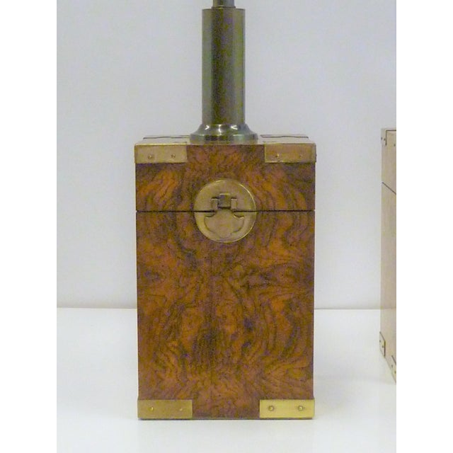 1970s Campaign Style Burl Wood Faux Tea Box Table Lamps - a Pair For Sale In Miami - Image 6 of 13