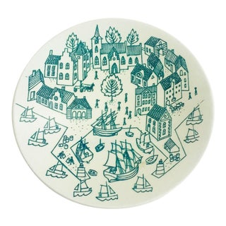 Mid Century Danish Small Village Plate by Paul Hoyrup For Sale