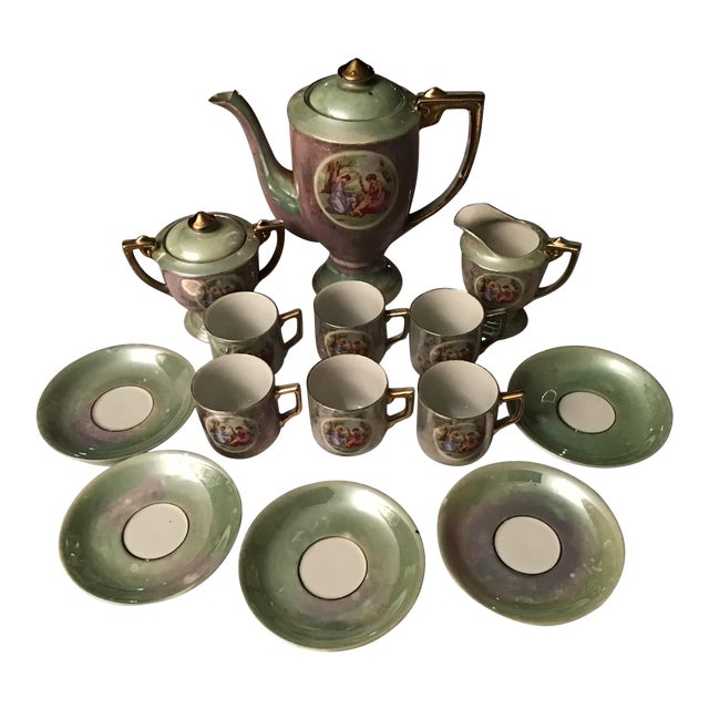 Vintage Hand Painted Angelica Kauffmann Style Tea Service - Set of 14 For Sale