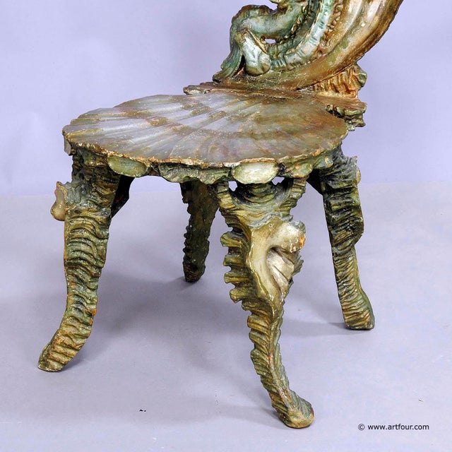 Late 19th Century Antique Venetian Carved Grotto Chair Ca. 1880 For Sale - Image 5 of 12