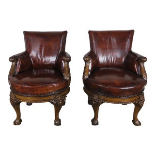19th Century George II Style English Swivel Library Chairs- a Pair For Sale