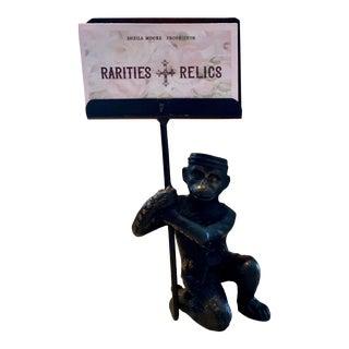 Vintage, Cast Bronze Monkey Business Card Holder For Sale