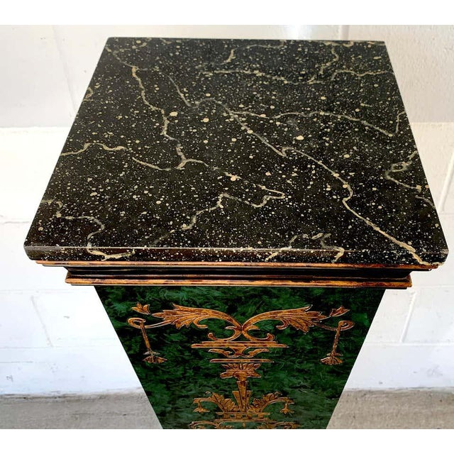 Neoclassical Faux Painted Green and Gilt Pedestals - a PAir For Sale In Atlanta - Image 6 of 8