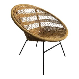 Vintage Wicker & Iron Hoop Lounge Chair, Circa 1950's For Sale