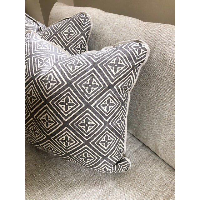 Custom made 20-inch square throw pillows in Quadrille China Seas 'Fiorentina' in Pewter on natural Belgian linen., The...