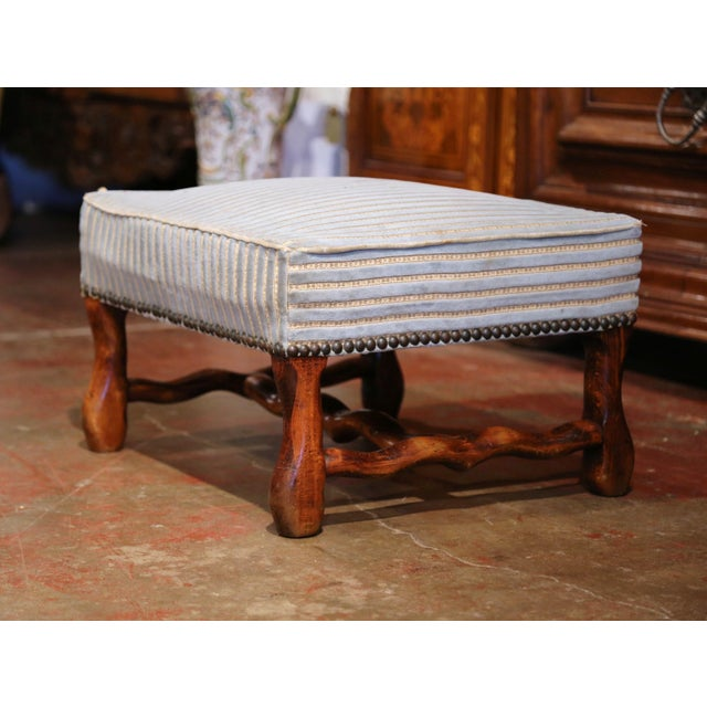 French Early 20th Century French Louis XIII Carved Mutton Bone Stool With Stripe Velvet For Sale - Image 3 of 9