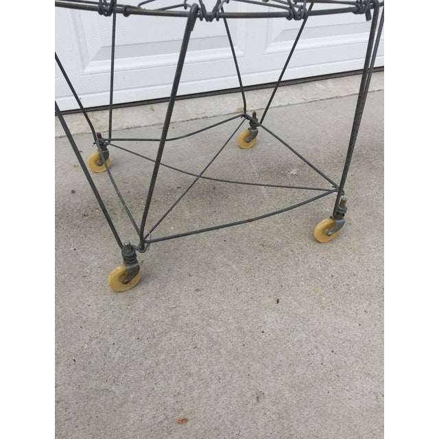 Vintage Industrial Collapsible Wire Laundry Basket on Casters For Sale - Image 6 of 13