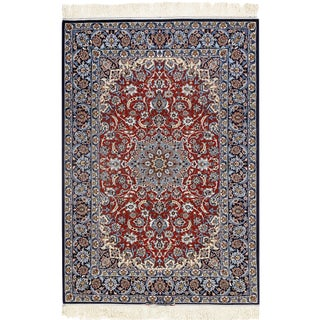 "Persian Pasargad Red Isfahan Silk & Wool Rug - 3'8"" X 5'4"" For Sale"