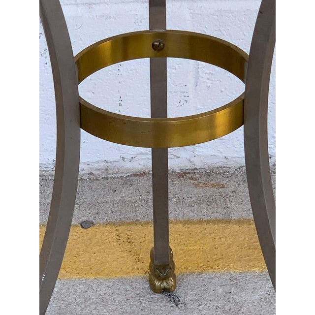 Maison Jansen Neoclassical Steel and Brass Gueridon For Sale - Image 10 of 11