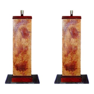 1950s French Wooden Lamps - a Pair For Sale