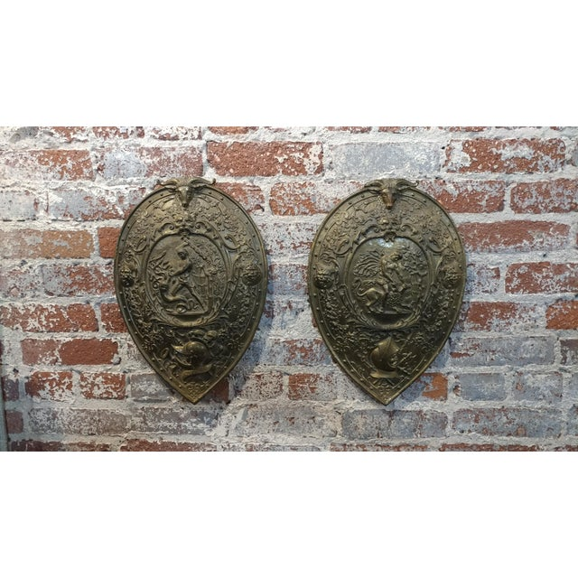 "Pair of Vintage Mythological Bronze Wall Plaque Shields. size 11 x 17"" A beautiful piece that will add to your décor!"