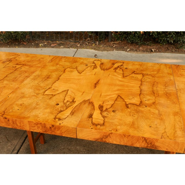 An exceptional vintage Parsons style extension dining or conference table by Milo Baughman for Drectional, circa 1975....