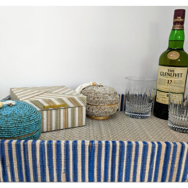 Organic Rectangular Woven Tray With Cotton and Rattan For Sale - Image 4 of 10