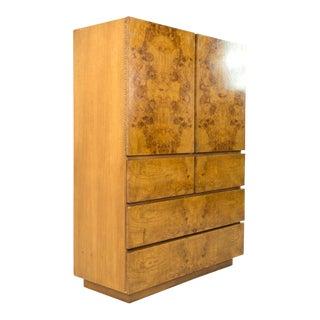 Mid Century Milo Baughman for Lane Burlwood Gentleman's Chest Highboy Dresser For Sale