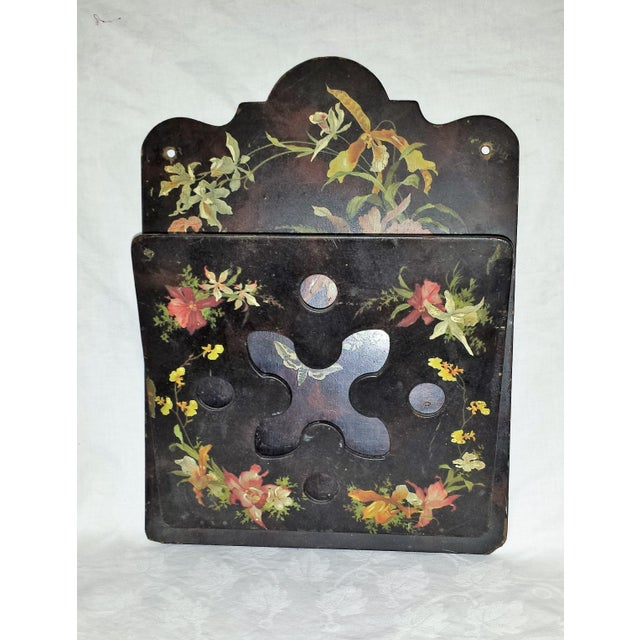 Victorian Victorian Tole Painted Papier Mache Wall Mounted Letter Holder For Sale - Image 3 of 8