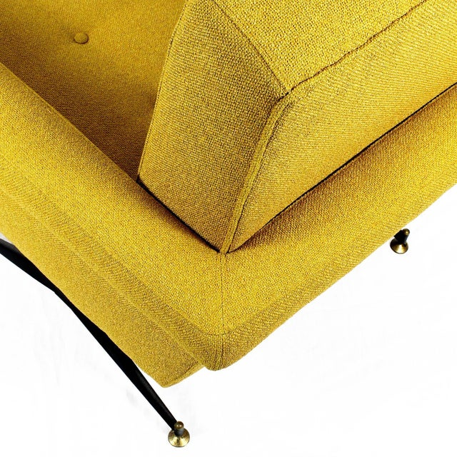 1960s Pair of Padded Armchairs, Yellow Upholstery, Steel, Brass - Italy For Sale - Image 9 of 11