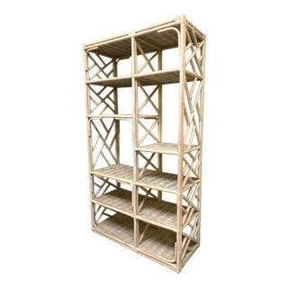 Rattan Chinoiserie Etagere Bookshelf For Sale