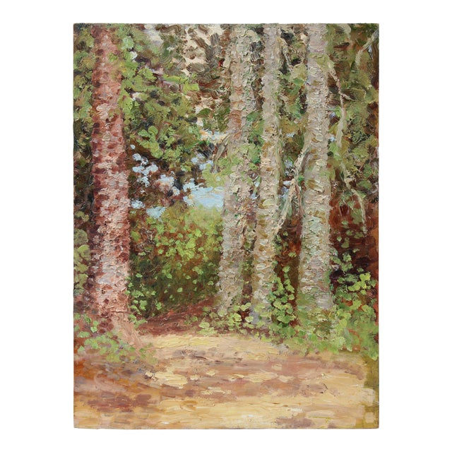 Impressionist Trees in a Landscape, Oil Painting, Circa 1900-1930s For Sale