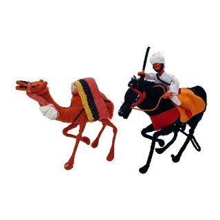 Vintage Middle Eastern Yarn Horse and Camel Figurines - a Pair For Sale