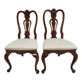 Lexington Cherry Chippendale Queen Ann Dining Room Side Chairs - a Pair