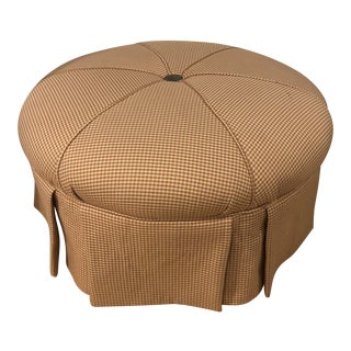 1990s Round Upholstered Ottoman For Sale