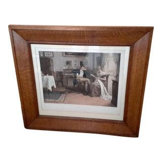 1896 German Antique Framed Lithograph by Emil Brack Pink & Franz Hanfstaengle For Sale