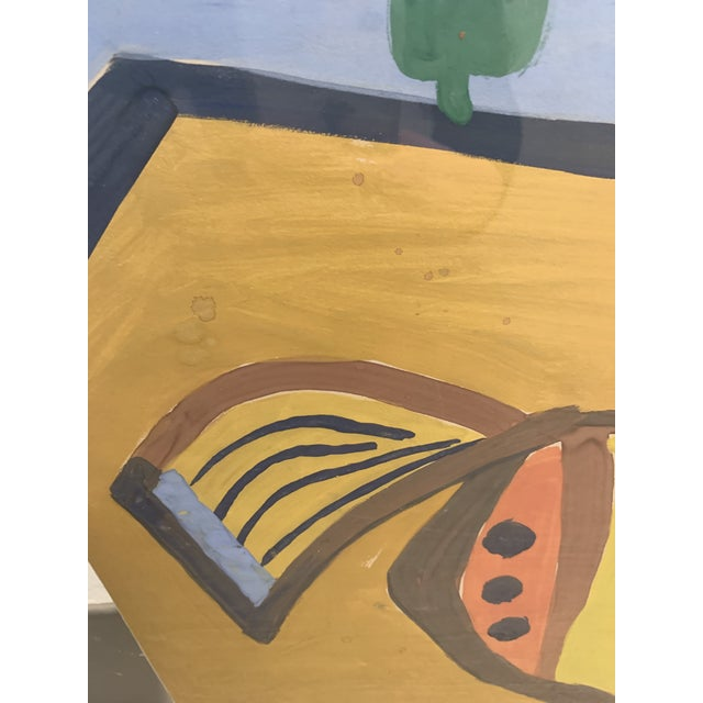 Abstract 1964 G. L. Long Orange Abstract Acrylic Bird / Animal Painting For Sale - Image 3 of 8