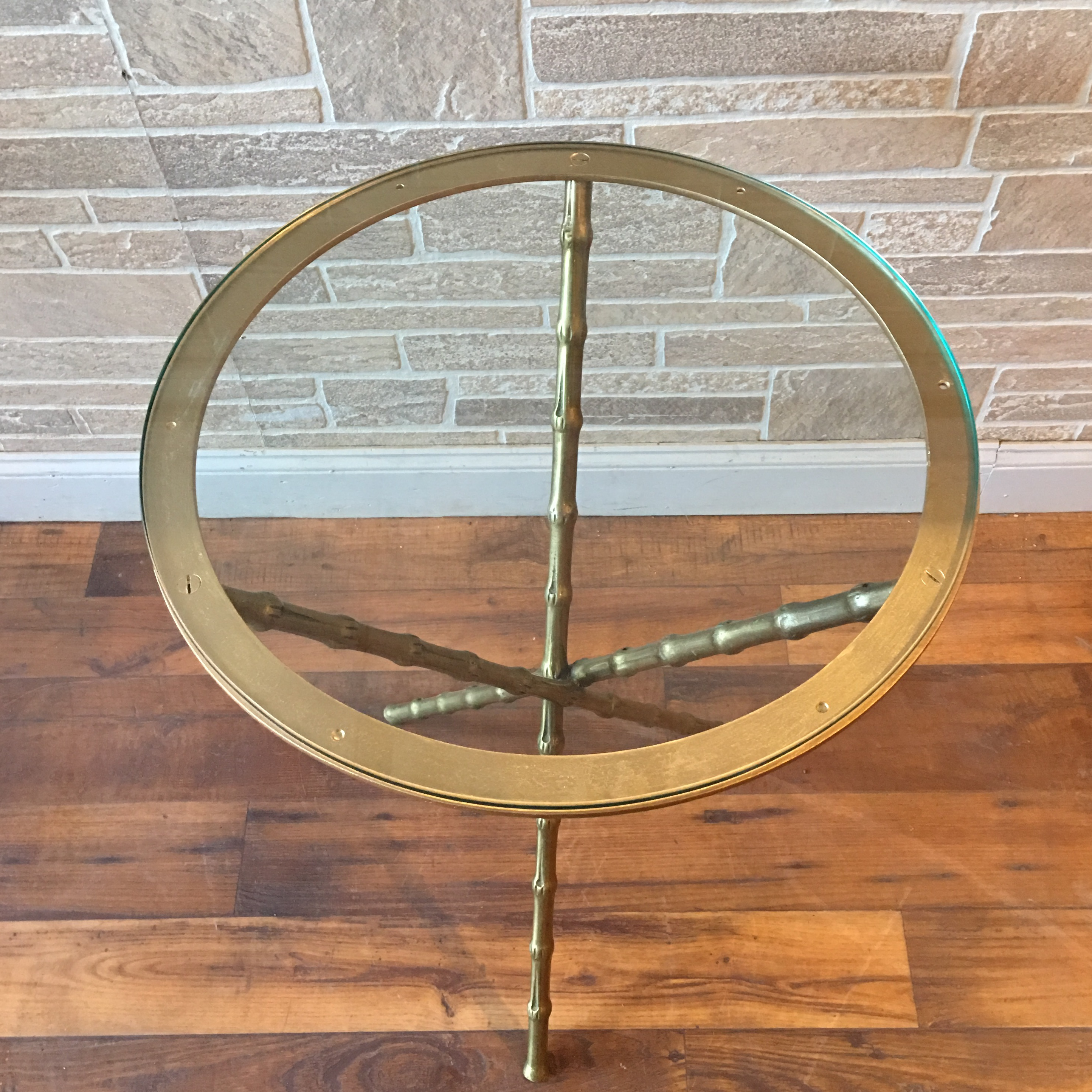 Maison Bagues Style Faux Bamboo Brass Tripod Table   Image 4 Of 7