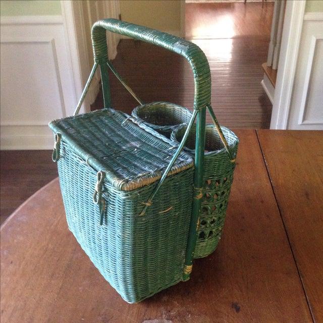 Vintage Green Wicker Picnic Basket - Image 2 of 11