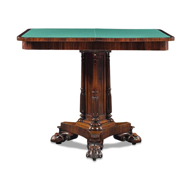 These exceptional late Regency card tables were designed with both elegance and function in mind. Crafted of rosewood,...
