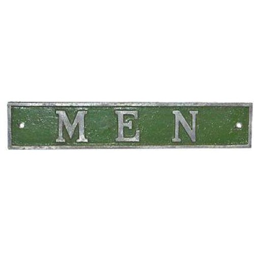 Vintage Green & Silver Men Door Plaque - Image 1 of 8